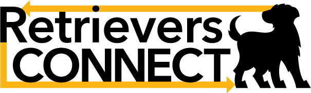 Retrievers Connect logo: black dog silhouette with gold arrows connecting around the words